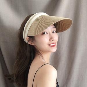 帽子女夏天雪梨同款空顶草帽防晒遮阳帽户外露顶鸭舌帽沙滩太阳帽