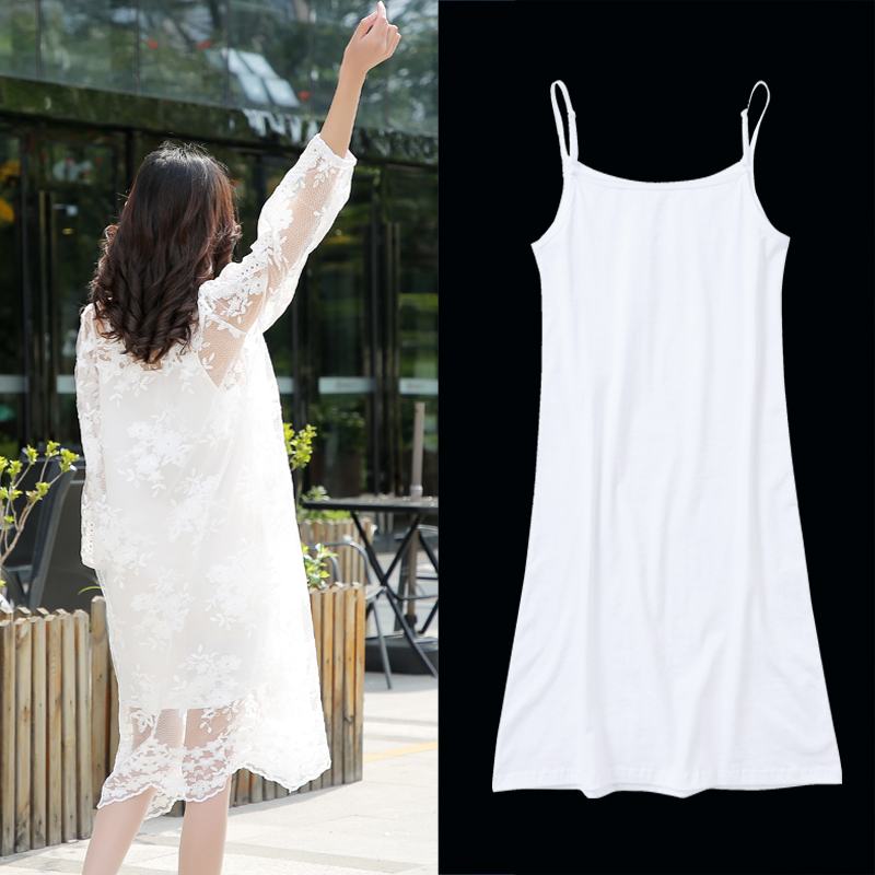 吊带裙内搭打底长款白色汉服内衬裙打底连衣裙女纯棉大码遮肚裙子