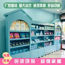 木质母婴店货架展示架中岛柜卡通货柜儿童玩具货架宠物店货柜架子