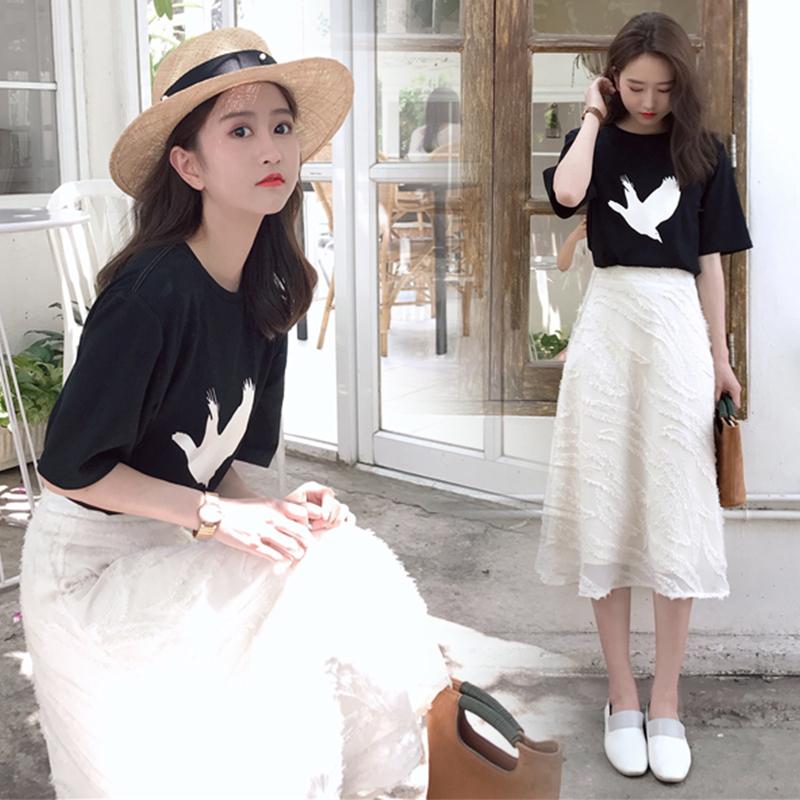 2018夏装新款chic港味两件套女神范省心搭配女装半身裙套装时尚潮