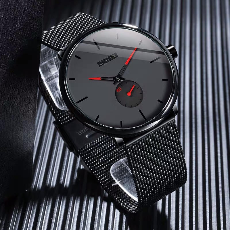 New net red big dial ultra thin waterproof quartz concept mens business trend personality black steel band student Watch
