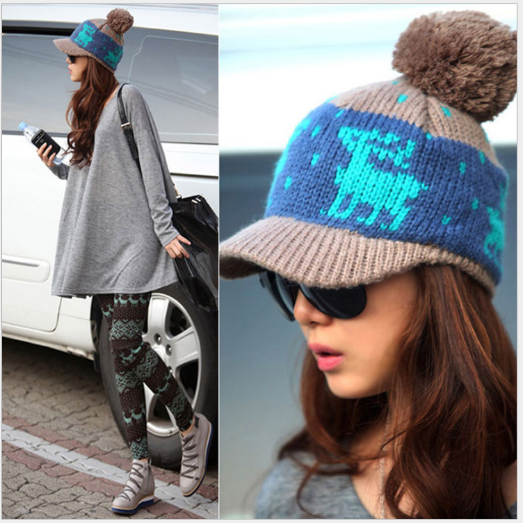 Womens hat autumn and winter warm and cold proof wool knitted hat collar with mask thickened Korean womens hat warm and versatile