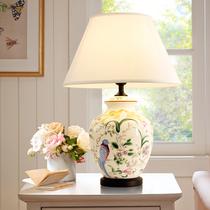 设计师乡村花鸟陶瓷台灯床头灯美式灯具装饰台灯美式酒店样板房