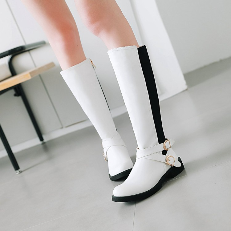 Black and white color block high boots childrens side zipper leisure college style belt buckle low heel female Knight Boots New in autumn and winter