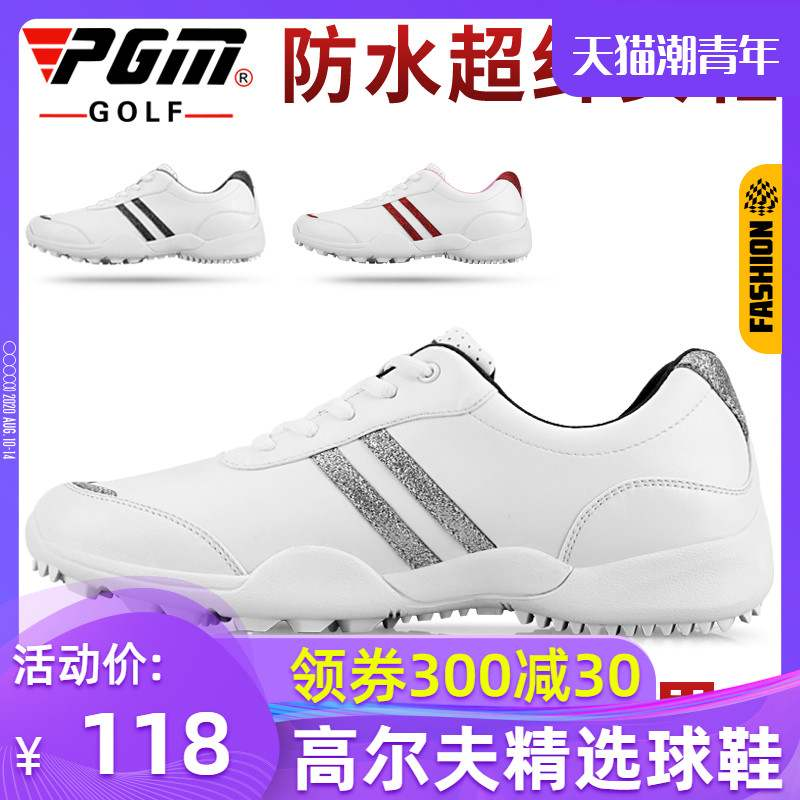 New type of womens golf shoes with fixing nail, non slip sole, comfortable, breathable, waterproof, super fiber leather