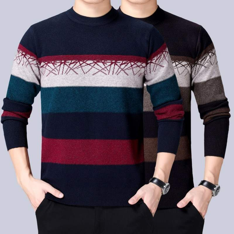 2020 winter brand sweater mens round neck casual Pullover mens warm thick knitted shirt fathers dress