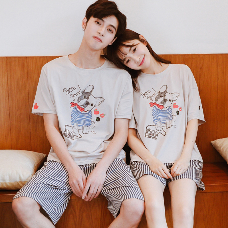 Couple pajamas womens summer large suspender mens summer solid color shorts thin casual suit cotton home clothes