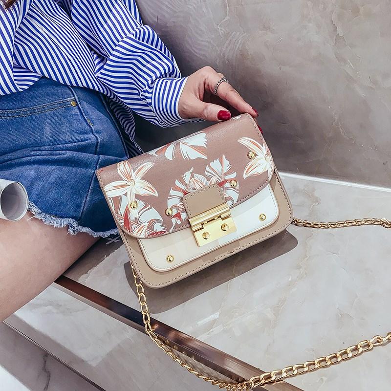 小包包女2018新款韩版潮时尚撞色单肩包链条女包百搭个性锁斜挎包