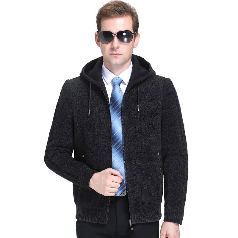 2020秋冬羊毛夹克男式宽松大码中老年连帽商务爸爸装外套