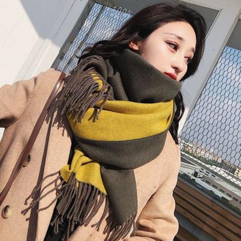 围巾秋冬季韩版纯色双面女士流苏仿羊绒保暖披肩百搭双色学生围脖