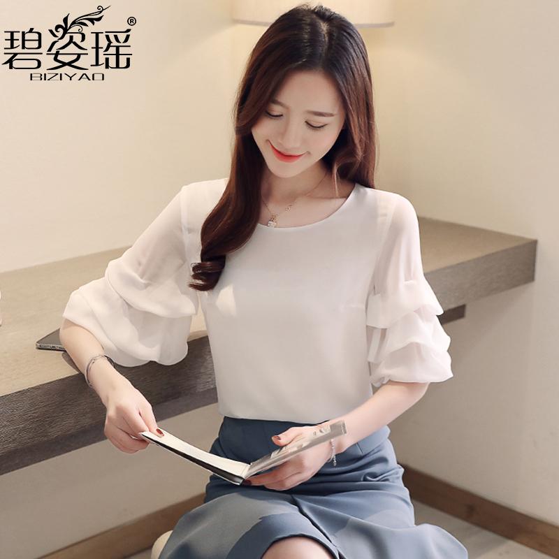 白色衬衫女时尚洋气短袖