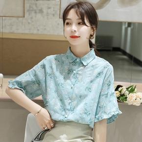 夏季2021新款小清新碎花短袖衬衫女韩版宽松喇叭袖衬衣棉麻上衣潮