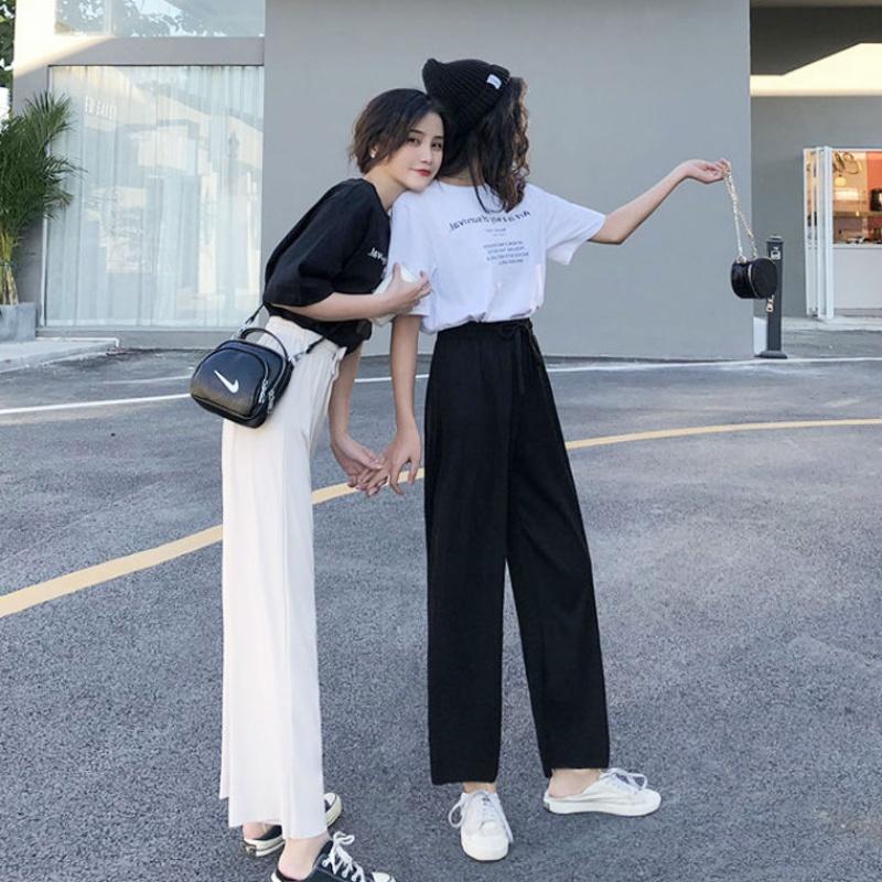热销1件假一赔三法国小众夏装街拍套装女学生时尚洋气女神酷潮阔腿裤两件套闺蜜装