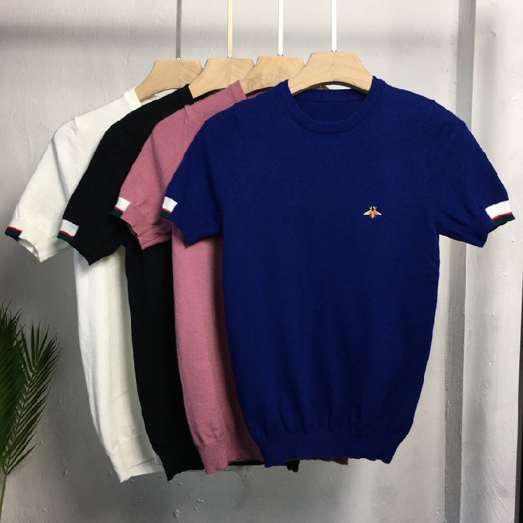 Short sleeve sweater mens autumn and winter half sleeve T-shirt solid color half sleeve sweater round neck casual bottomed sweater