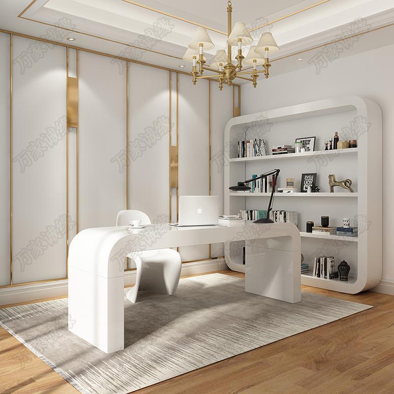 电脑桌创意现代简约时尚洽谈桌化妆吧台式餐桌烤漆北欧个性办公桌
