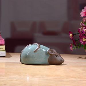 欢天喜地庆新年陶瓷哥窑小老鼠摆件招财风水镇宅生肖趴鼠可爱旺财