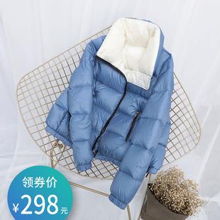2019年新款拼色时尚派克面包羽绒服女短款轻薄白鸭绒冬小个子外套