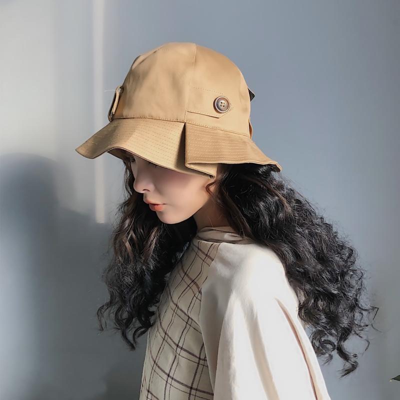 日系春夏新款女士皮扣不规则帽檐渔夫帽休闲户外遮阳帽折叠布帽35.00元包邮