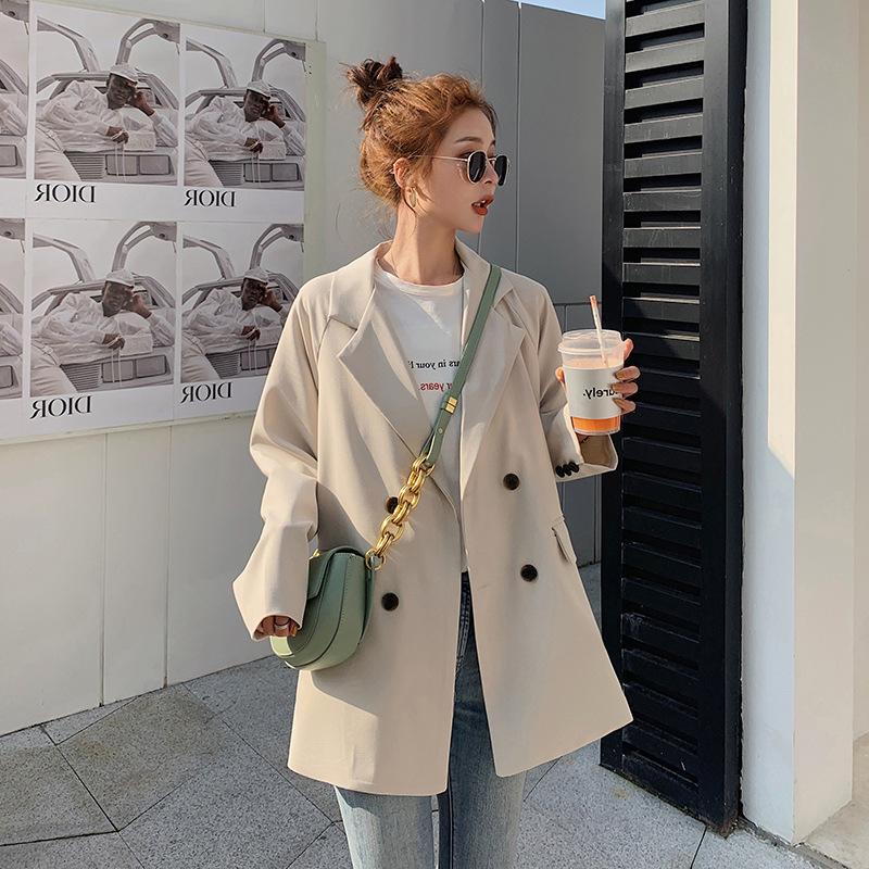 2021春季小西装外套女设计感小众网红双排扣西服时尚韩版宽松休闲