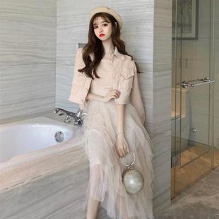 2019初秋網紅女裝套裝潮時尚洋氣成熟裙子兩件套早秋款氣質輕熟風