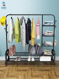 简易挂衣架落地卧室衣帽架宿舍多功能单杆式置物家用收纳衣服架子