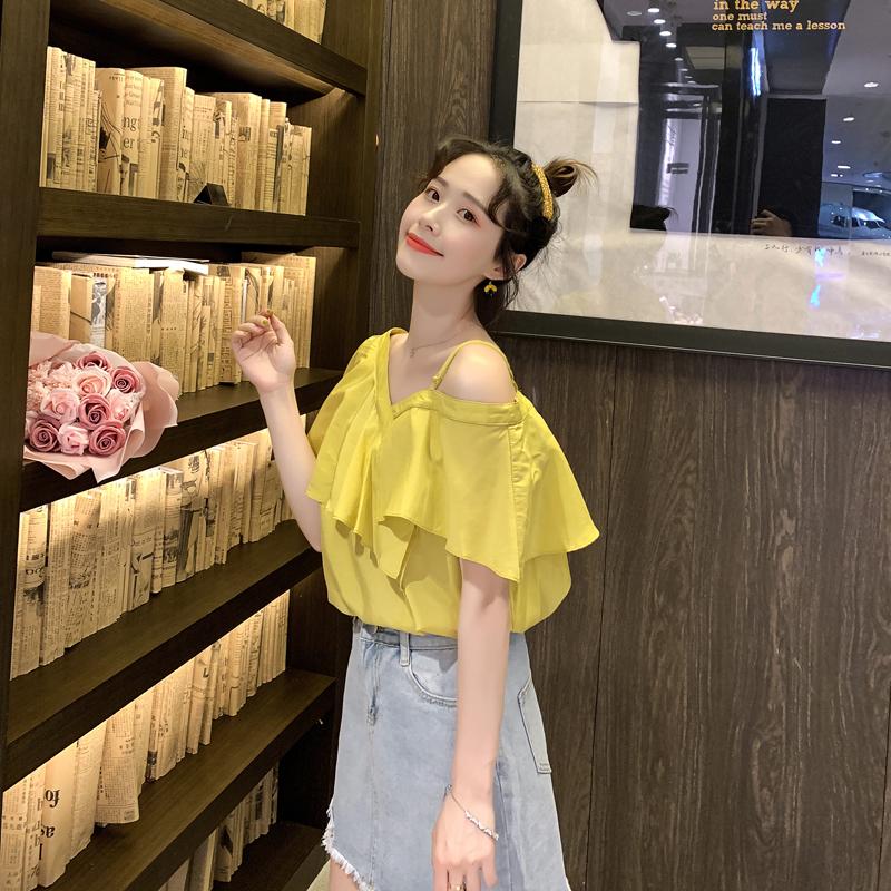 很仙的上衣洋氣荷葉袖雪紡衫女2020夏新款韓版修身一字露肩上衣女