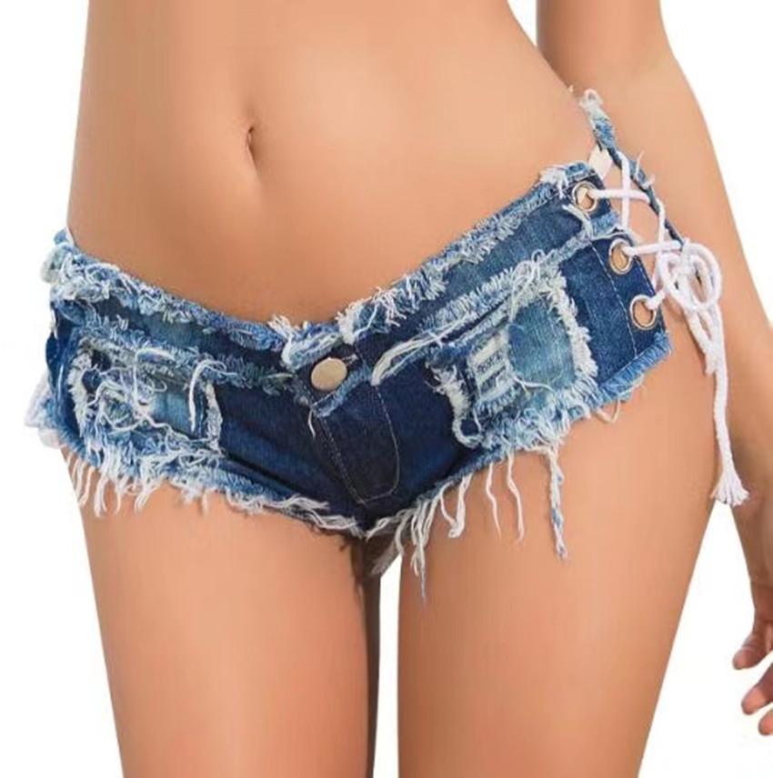 Sumiton new summer womens fashion jeans shorts hot pants night club low waist sexy net red live womens shorts