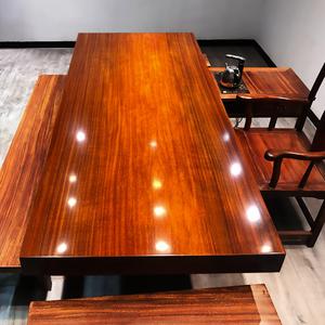 奥坎大板实木原木茶桌大板桌红木花梨2 1老板办公桌面米8茶板茶台