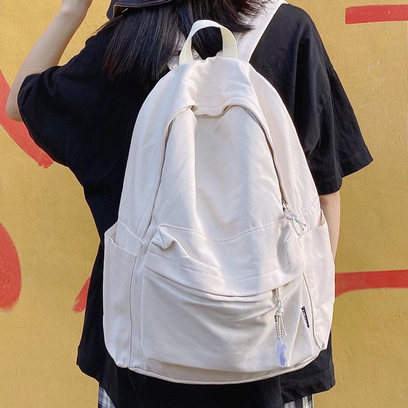 脸蛋无印系列原宿大学生背包初中生高中学生简约书包帆布女双肩包
