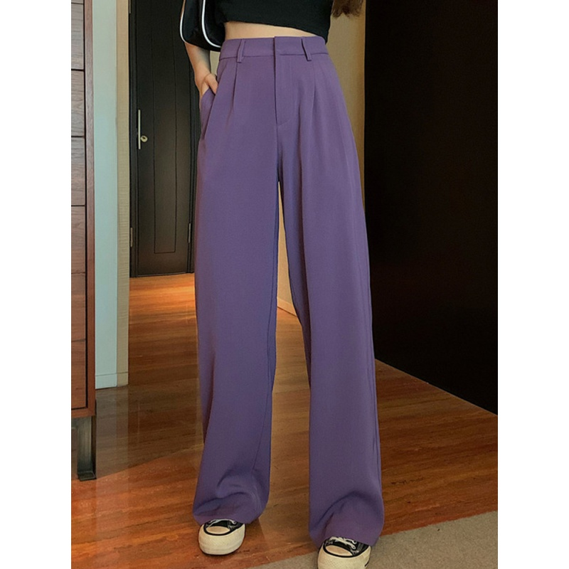 Spring and summer 2020 new Korean version of drooping floor sweeping wide leg pants fashion high waist casual straight tube suit pants women fashion