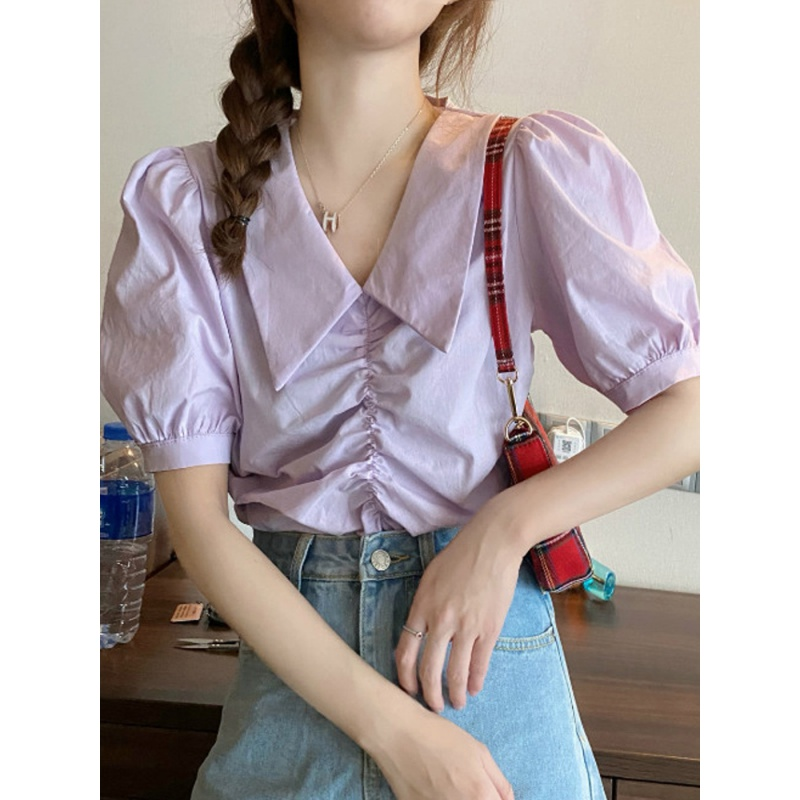 Summer 2020 new style bubble sleeve Vintage Hong Kong Style pleated Shirt Purple Top Womens design sense niche shirt