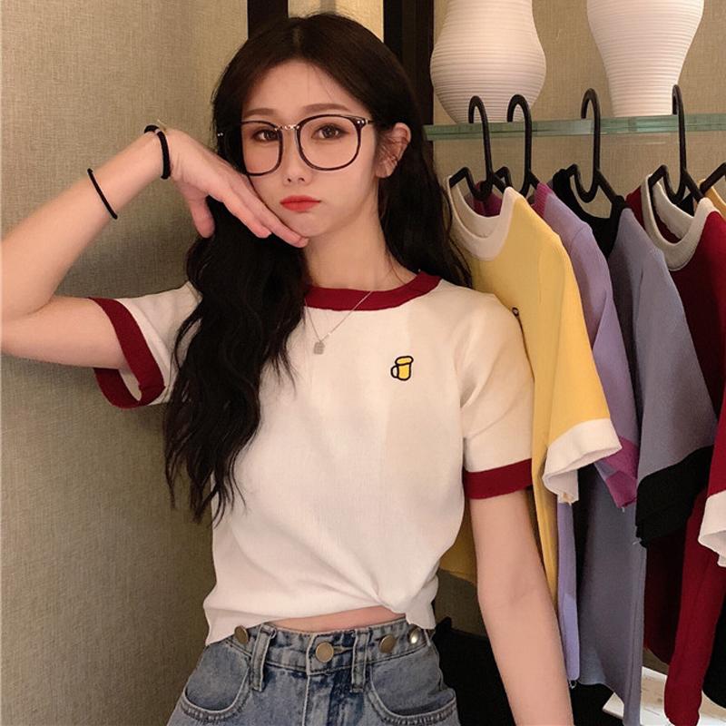 Summer 2020 new Korean version versatile short T-shirt womens Embroidery short sleeve T-shirt bottoming top ins fashion