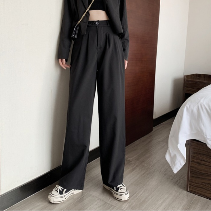 Spring and autumn 2020 new Korean version loose straight tube mopping Pants Black thin high waist suit casual pants women