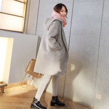 Double-sided cashmere overcoat 2018 new medium and long wool overcoat fashionable Plaid short grey double-sided