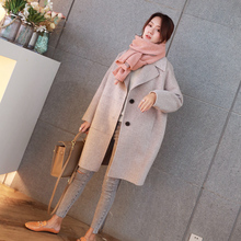 Double faced cashmere wool woolen sweater coat coat grey grid Korean version cocoon type loose 2018 medium long section double-sided.