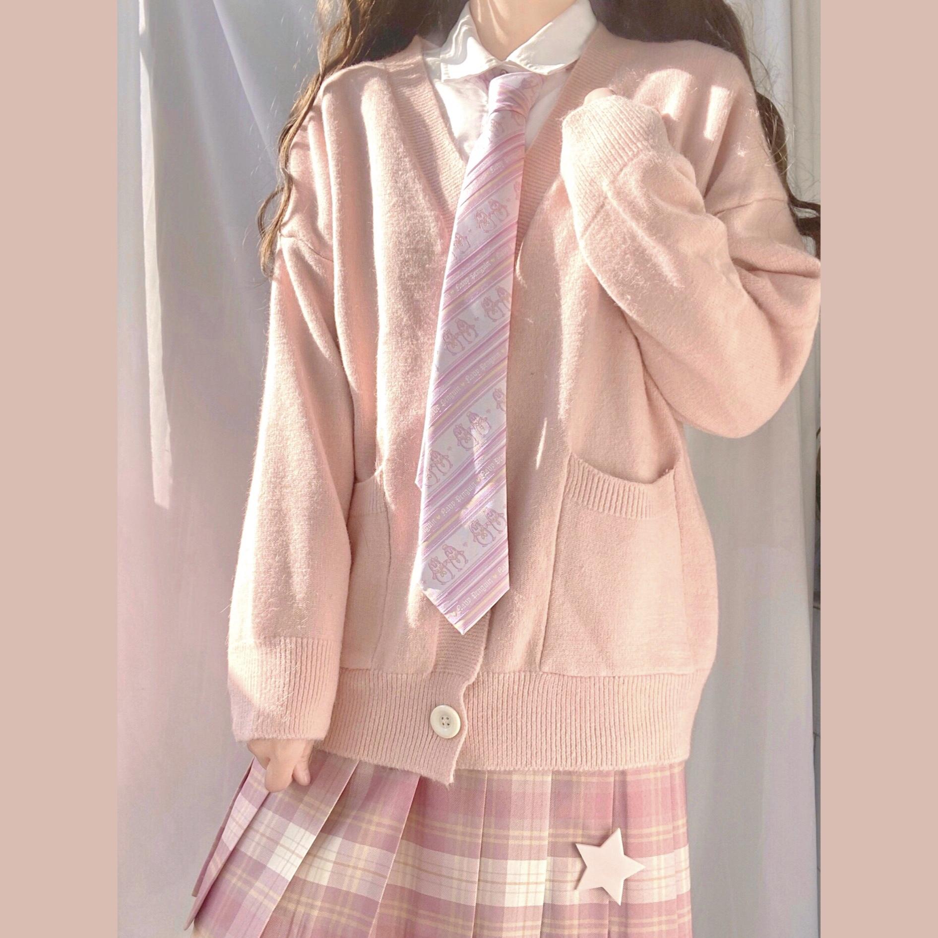 自制JK开衫宽松灯笼袖针织毛衣日系软妹学院风少女包芯纱春秋开衫
