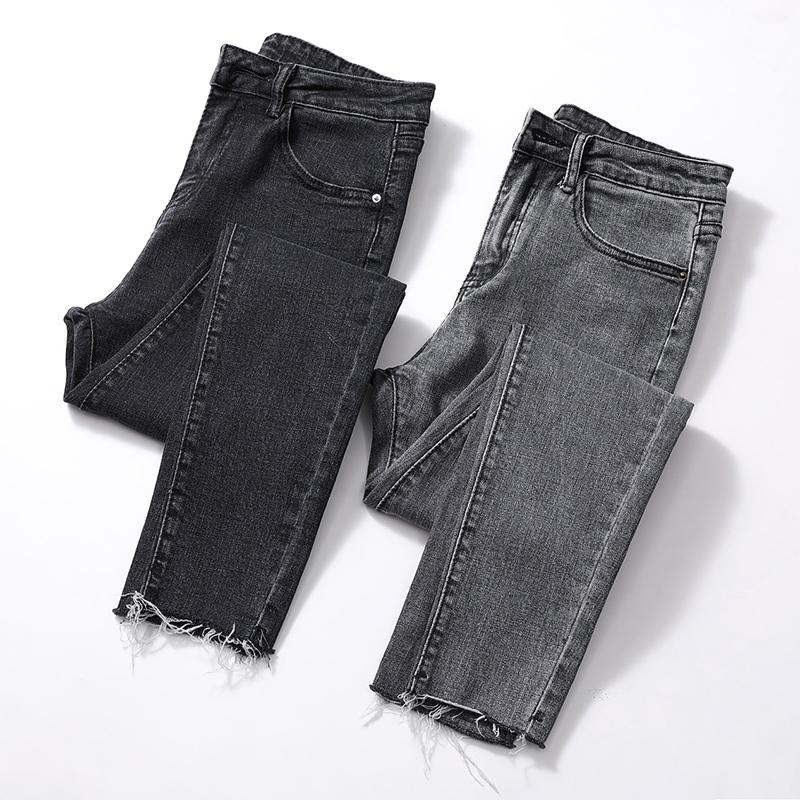 烟灰色毛边牛仔裤女春季新款2020九分高腰显瘦紧身网红小脚八分裤