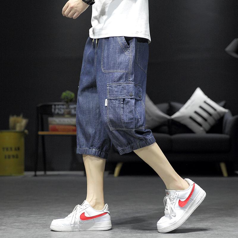 13岁初中学生韩版牛仔裤15青少年14休闲七分裤16夏季男孩工装裤潮图片