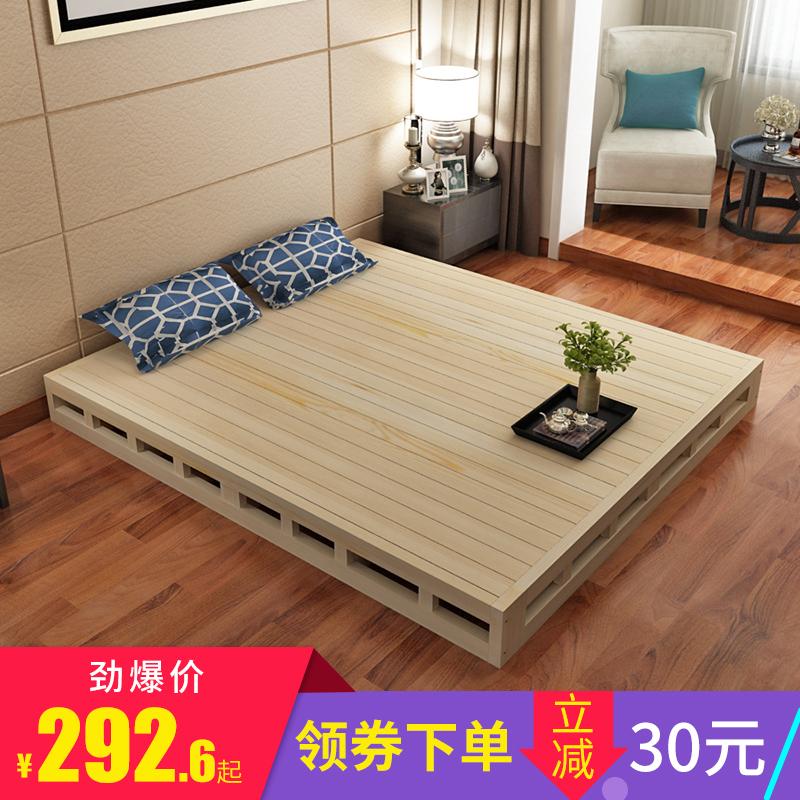 Дерево жесткий нары подушка двуспальная кровать полка 1.5 высокий кровать совет 1.8 метр жесткий сиденье мечтать мысль татами легко кровать