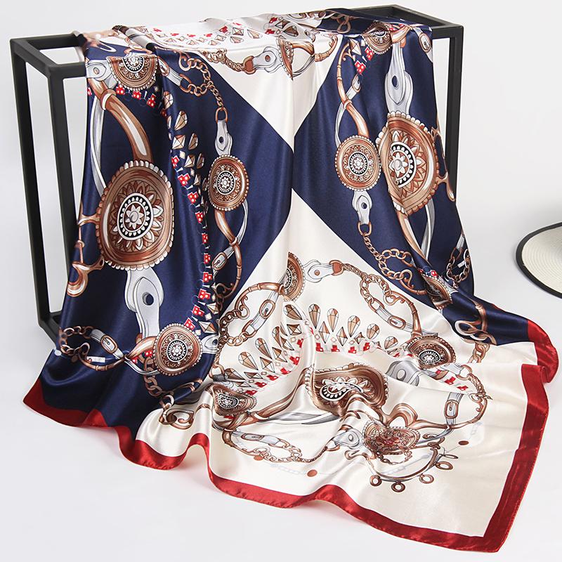 90x90cm 大方巾女士好看的丝巾洋气时尚2019好新款百搭方块小围巾