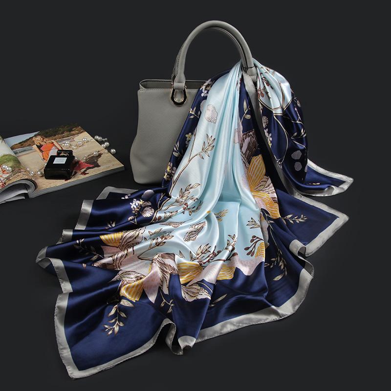 杭州四季方巾90x90cm大 春款百搭正方形小丝巾女春季薄款冰丝超薄