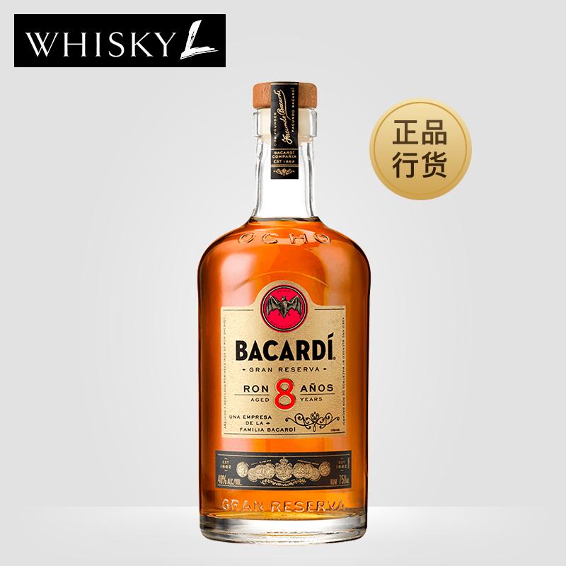 洋酒 Bacardi/百加得8年 8YO��黑朗姆酒1L�b 派���u尾酒朗姆酒
