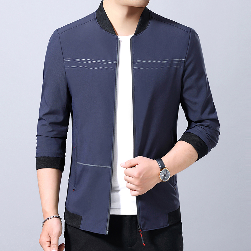 2019 new jacket mens spring and autumn casual mens coat spring mens standing collar thin middle-aged jacket