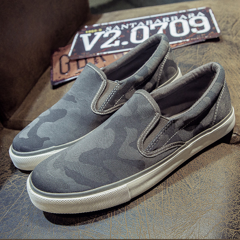 Canvas shoes mens casual shoes in autumn 2021 Korean fashion camouflage cloth shoes lazy shoes cover feet low top shoes