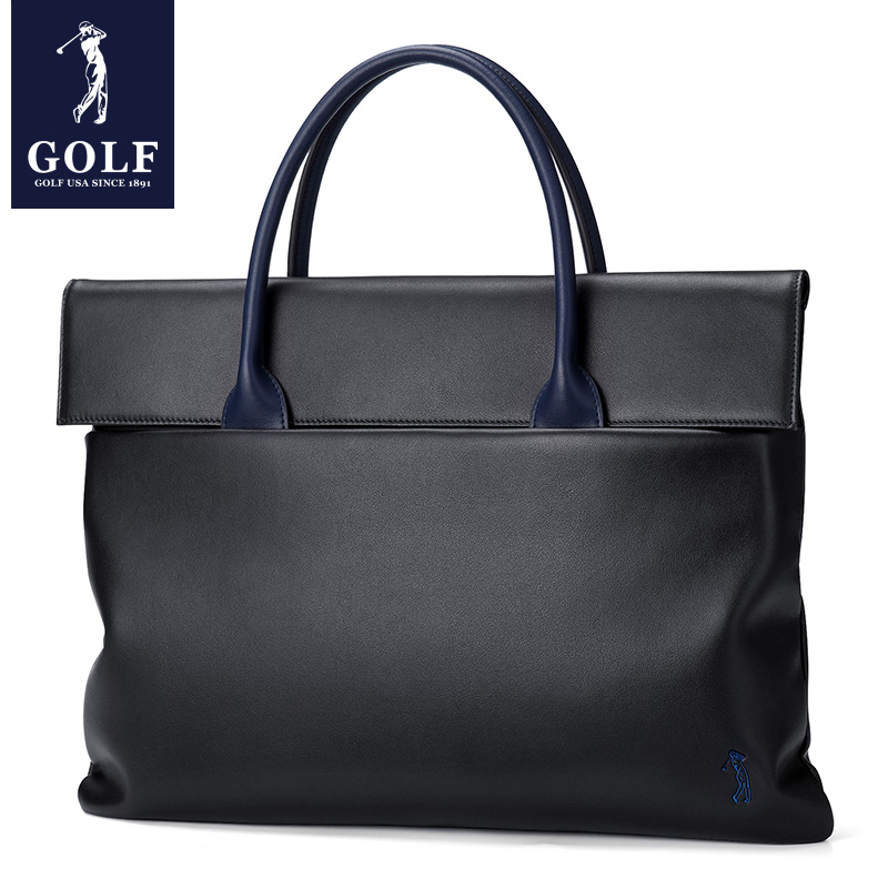 GOLF Handbag Men Handbag Business Briefcase Genuine Leather Single Shoulder Bag Cowskin Leisure Trendy Computer Men's Bag