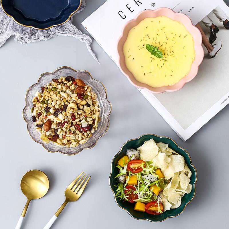 创意花边陶瓷碗家用甜品碗燕麦碗燕窝碗银耳汤碗盅玻璃雪糕沙拉碗