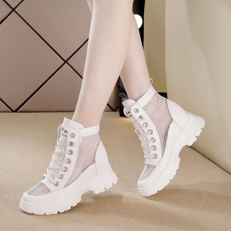 镂空马丁靴瘦瘦短靴小个子夏季薄款女内增高2021透气网面真皮女鞋