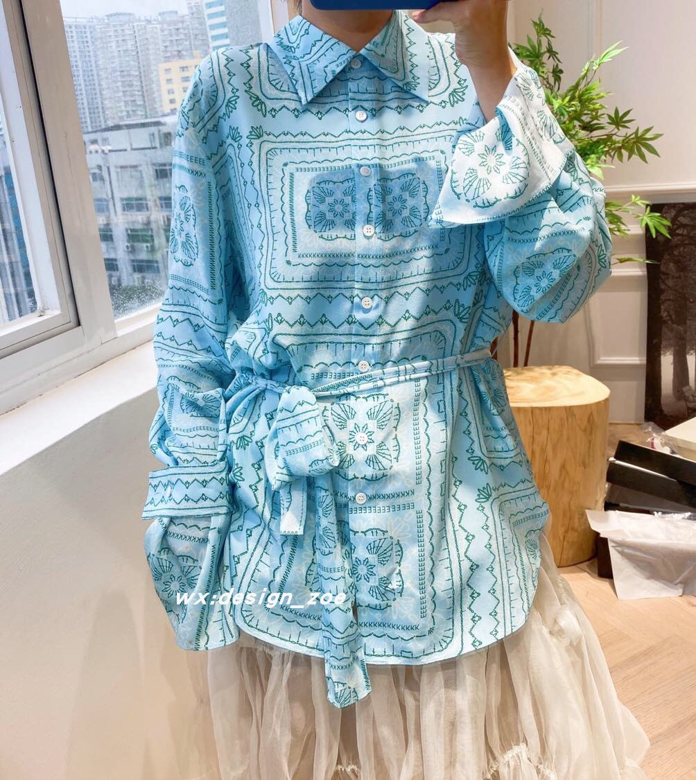 Summer 2020 clear water blue geometric pattern ribbon silk shirt crepe de Chine silk imported top goods