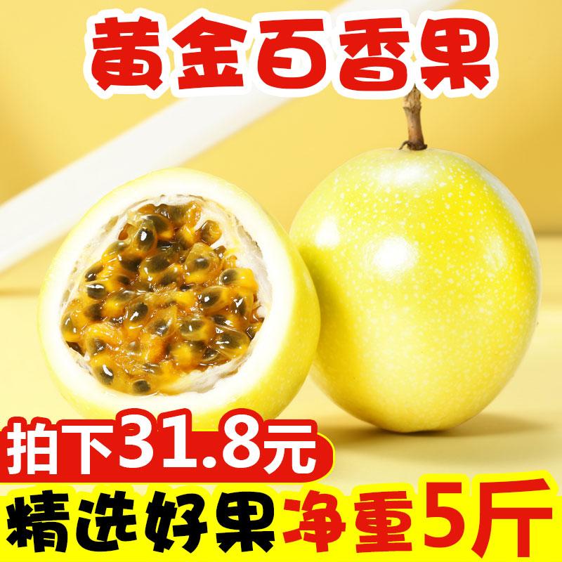 黄金百香果5斤包邮中大果现摘黄色皮新鲜热带水果番莲鸡蛋果孕妇