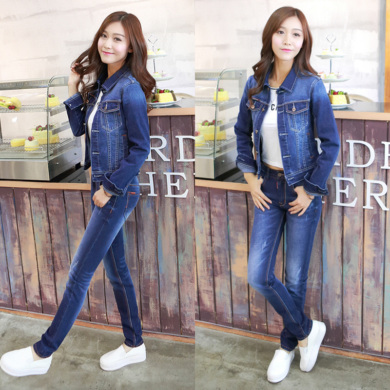 Denim suit womens spring and autumn fashion trend 2020 slim and slim top Korean long sleeve foreign style two piece jacket